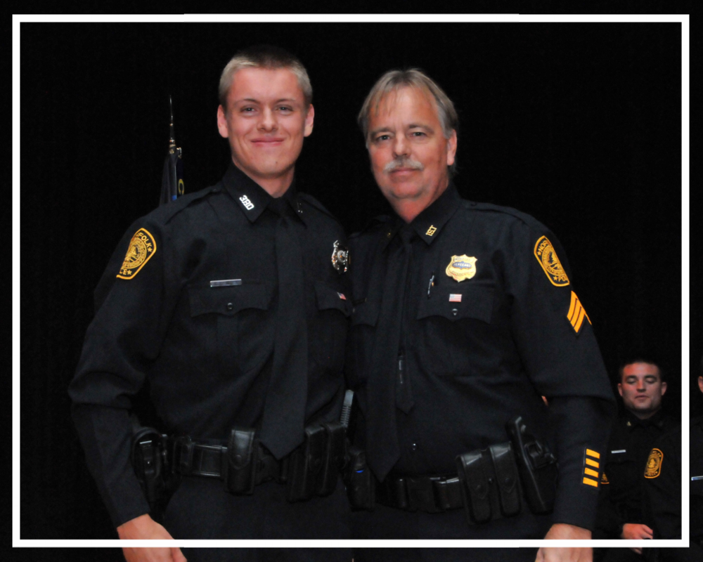 Officer Michael Edington, Jr. with his father, Officer Michael Edington
