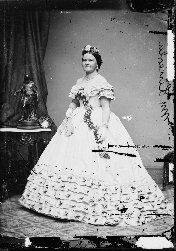 Mary Todd Lincoln in her (in) famous Rose Dress.