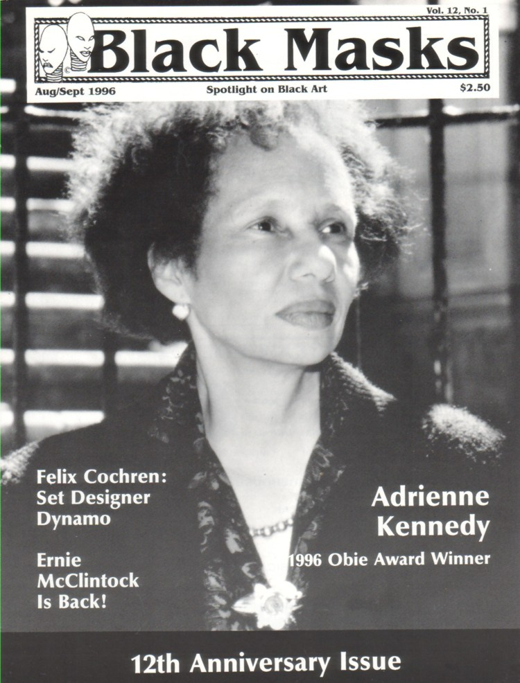 Adrienne Kennedy on the cover of Black Masks Magazine, Aug/Sept 1996