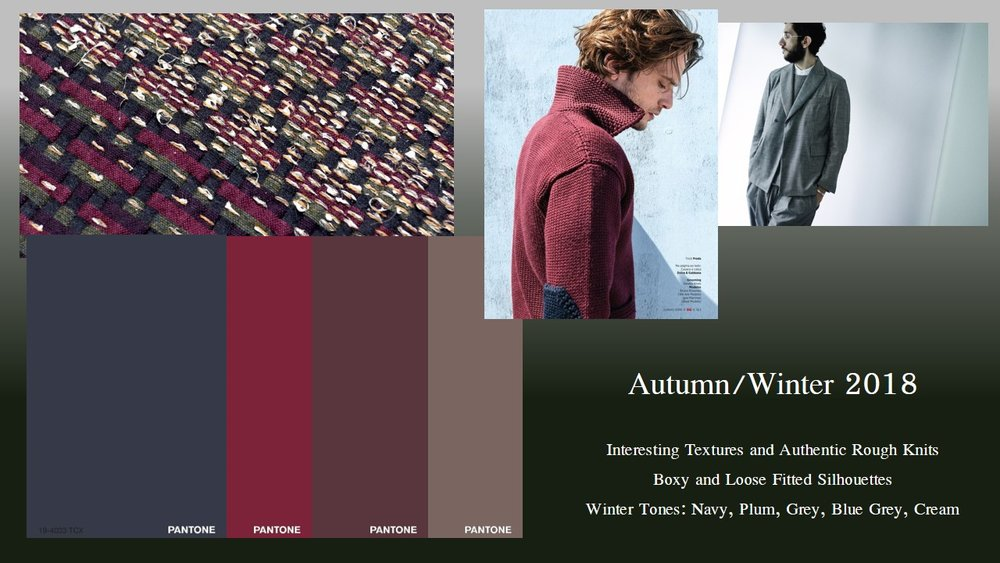 Trend Research - I started looking through images online and trying to decide what I needed to incorporate into my ensemble. I was drawn to the deep colors and chunky silhouettes that were being showcased for the Autumn/Winter 2018 seasons. I was especially drawn to a forecast from WGSN titled