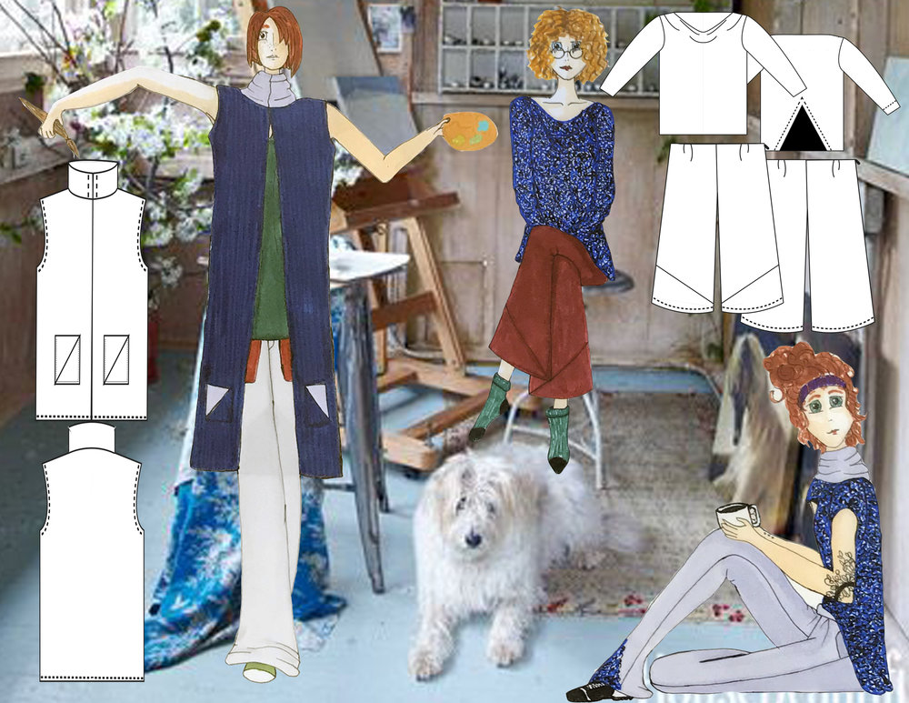 Final Presentation Board - Technical flats are of the garments that I actually constructed. I used illustrator to create the flats and hand drew the figures. I placed them into a relaxed art studio scene to further the mood I'd created.