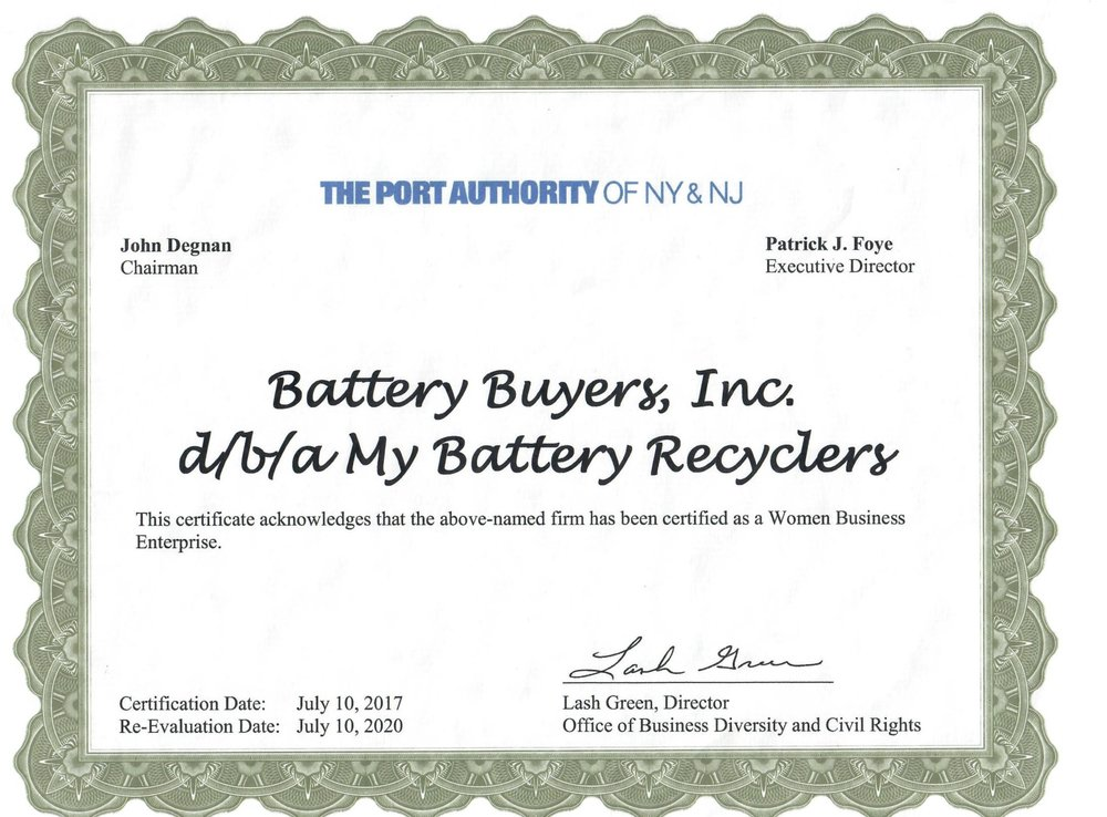 Wbe Port Authority Nynj Certification My Battery Recyclers
