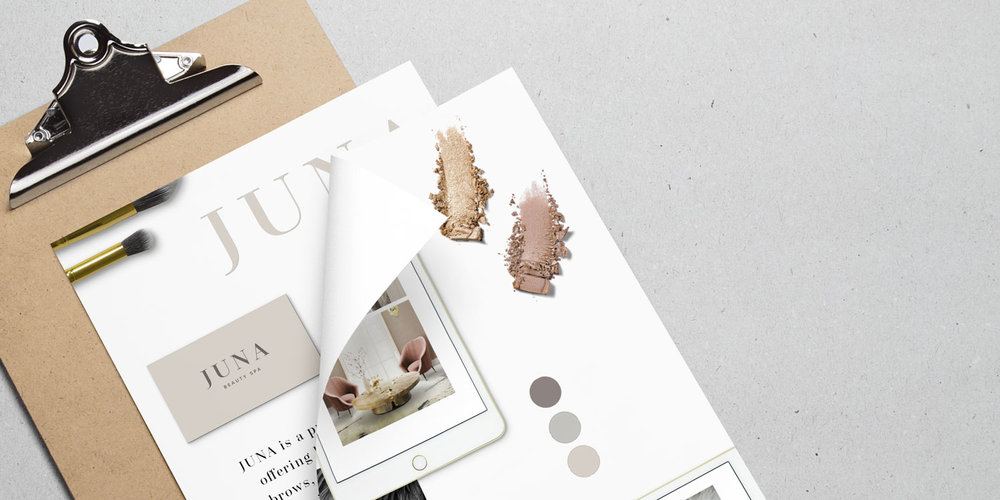 Feminine + chic beauty spa mood board + brand design flat lay by Susan Krajan Levitt   callmesue.com