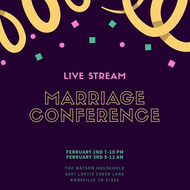 THIS WEEKEND! Join us for the live stream marriage conference with Paul David Tripp. Dinner will be provided Friday evening around 6:30 before the conference starts at 7! Even if your significant other can't attend, don't let that hold you back... there is going to be lots of great wisdom you can share with your spouse.