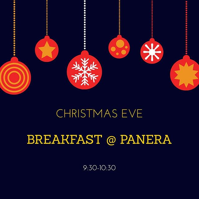 Christmas Eve is THIS SUNDAY!! 🙌🏻🎄 Instead of meeting at the church for Lifegroup, join us for breakfast and fellowship at Panera from 9:30-10:30. Hope to see everyone there!