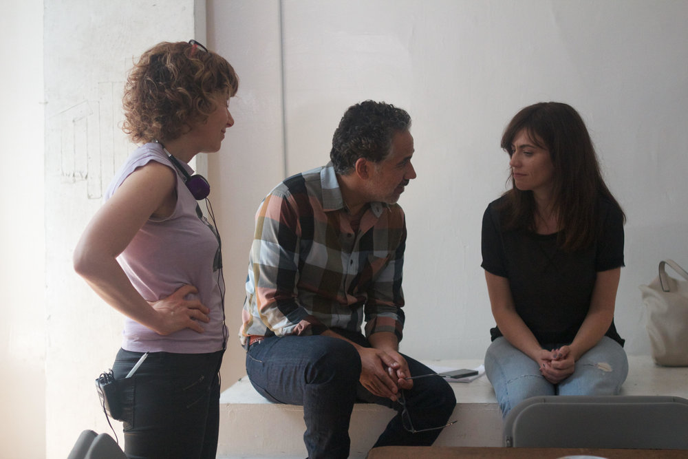 (left to right) Elisabeth Subrin, John Ortiz and Maggie Siff on the set of a A Woman, A Part.  Photo: Sahid Limon.