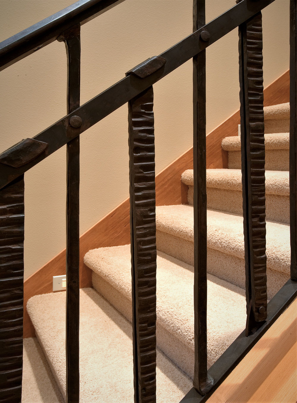 Custom iron stair detail