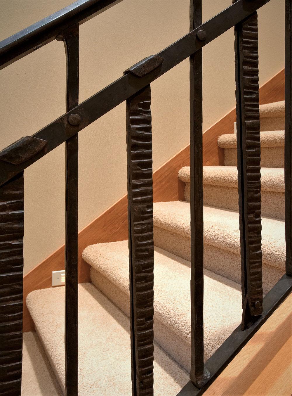 Custom iron stair detail