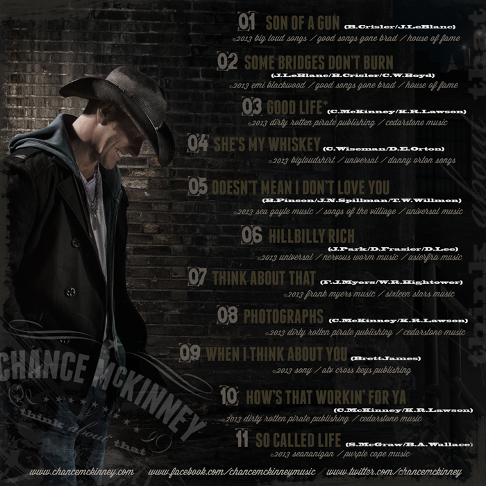 Chance McKinney's THINK ABOUT THAT Back Cover