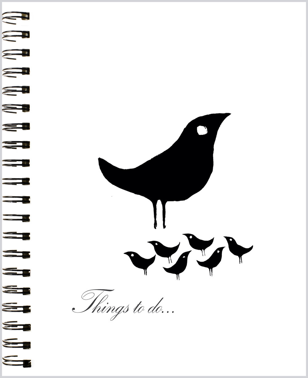 LittleNoteCard_BlackBirdies_Blank Journal
