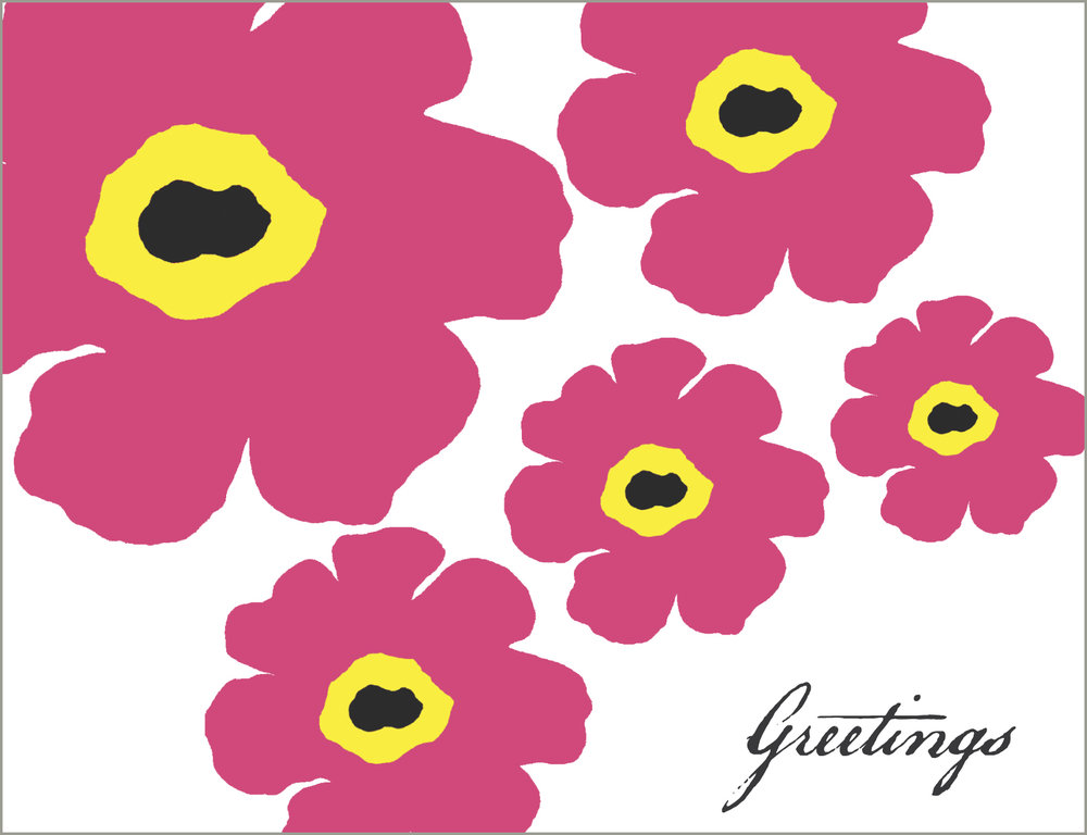 Flower Power, Hot Pink, Greetings,  Note Card