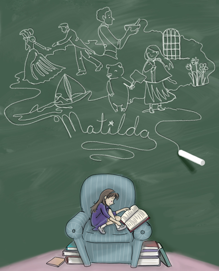 Copy of Illustration for Matilda by Roald Dahl