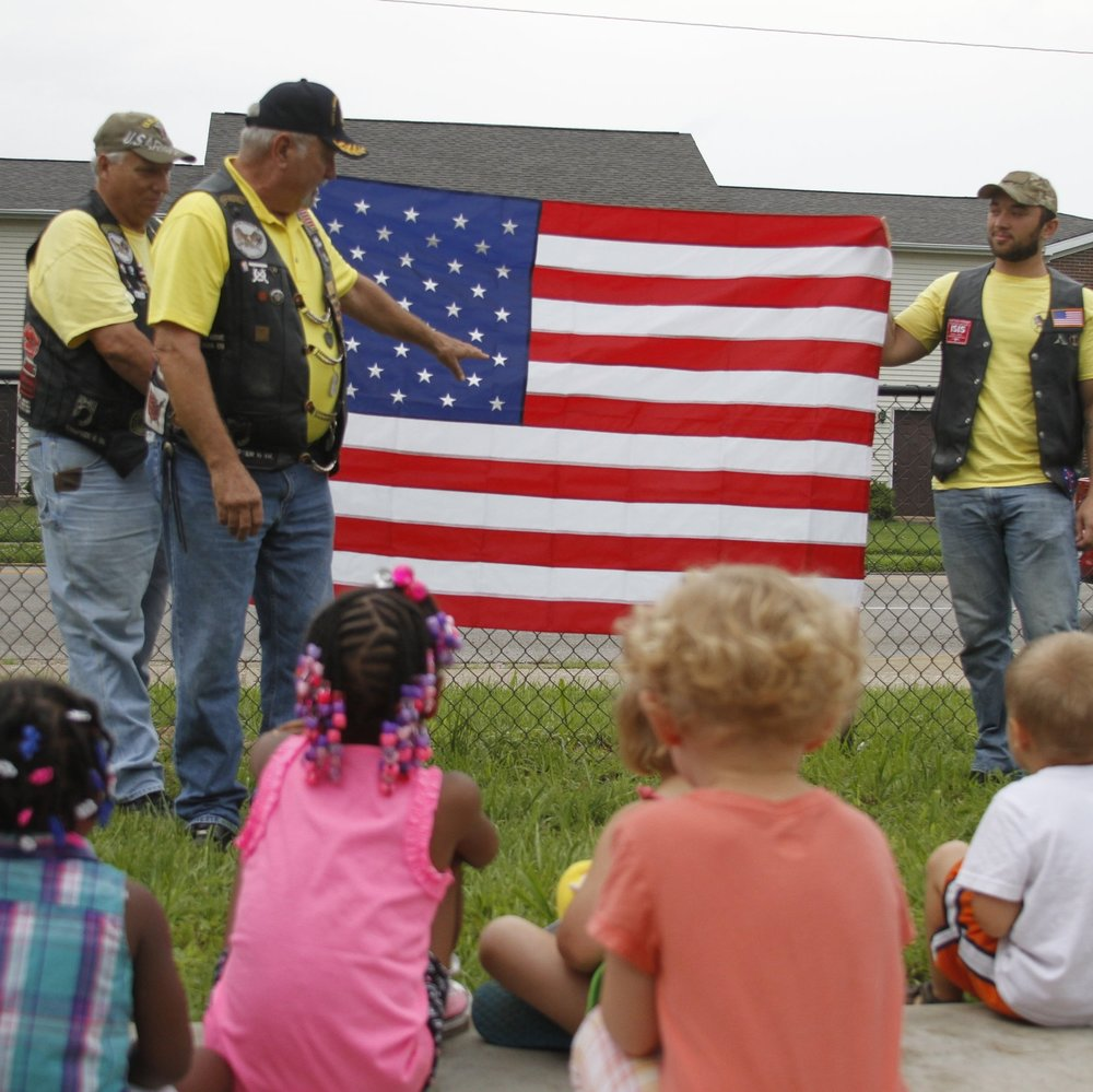 Each Fourth of July, members of Rolling Thunder come to Ark to teach the children about the American Flag and the importance of Independence Day.