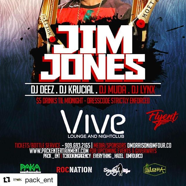 #Repost @pack_ent with @repostapp ・・・ @jimjonescapo live @vive_lounge April 30th. Shoutout to our sponsors! @alohabuds & @pakavapes is buying you a drink! RSVP to get your drink tickets at the door. Freedrinksjimjones.splashthat.com #alohabuds #pakavapes #jimjonesvive #runwiththepack
