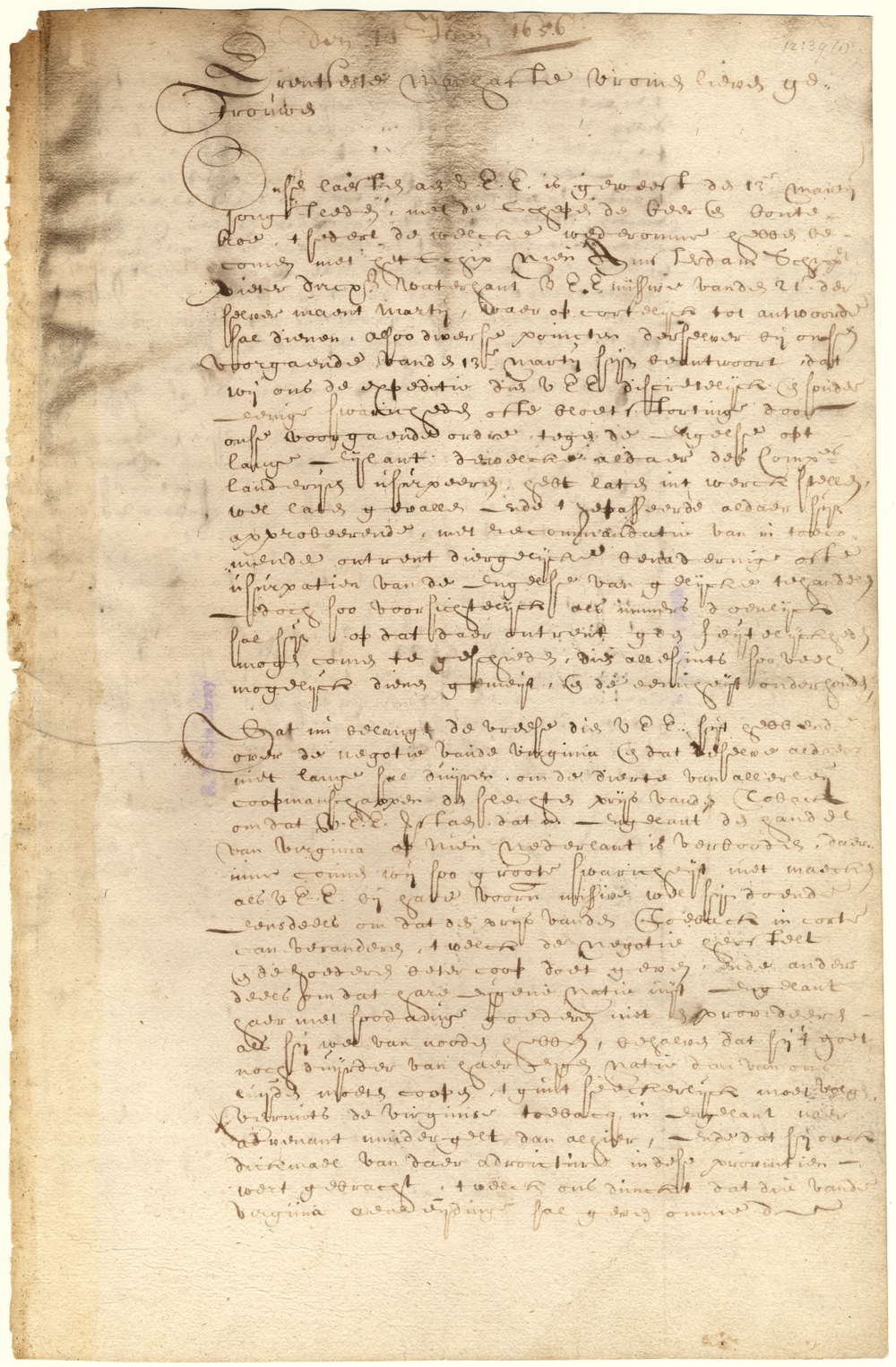 Letter from the Directors to Stuyvesant - The letter condemning Stuyvesant for not obeying orders to permit Jews to trade and buy real estate but granted restrictions on Portuguese Jews to be employed in the trades.