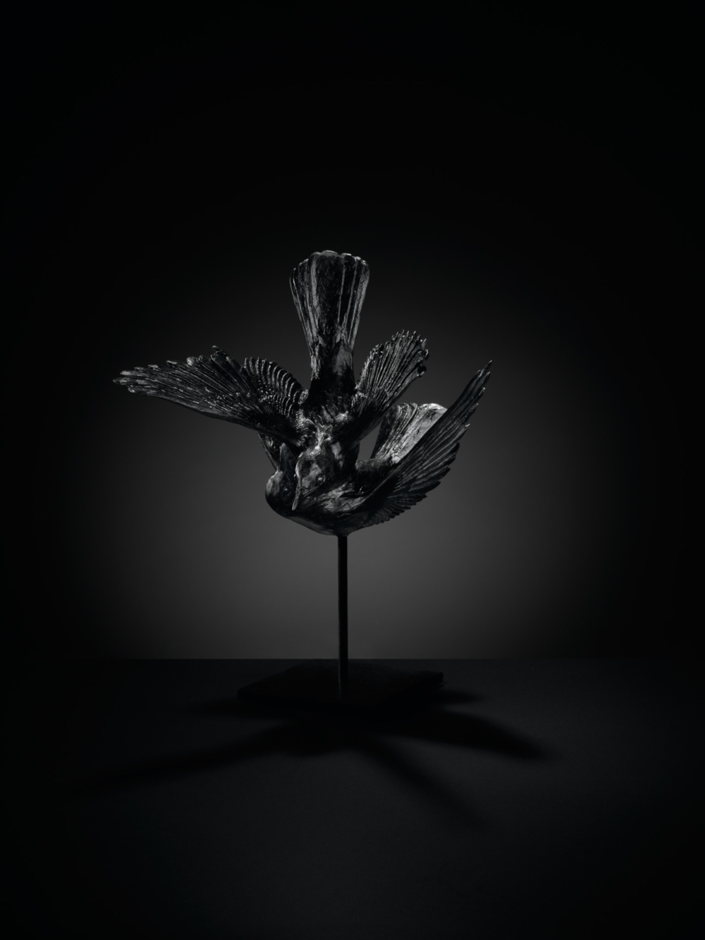 Katherine Rutecki,  Black , 2014. Lost wax, cast lead crystal, steel mount