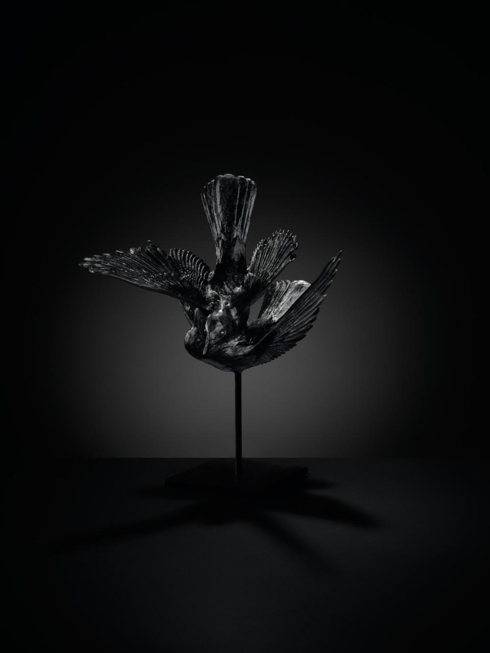 Katherine Rutecki, Black, 2014. Lost wax, cast lead crystal, steel mount