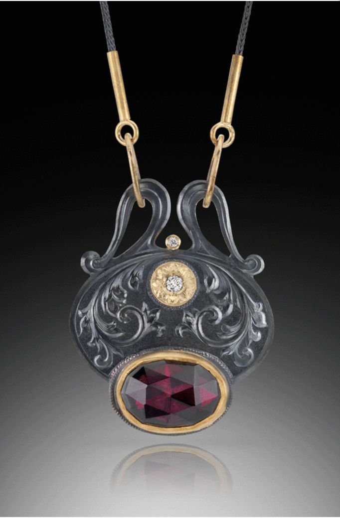 David Giulietti, Rose cut garnet pendant in French Empire style with nods to Art Nouveau. 22ky gold setting on garnet 18ky gold settings for diamonds and findings on blackened silver foxtail chain.