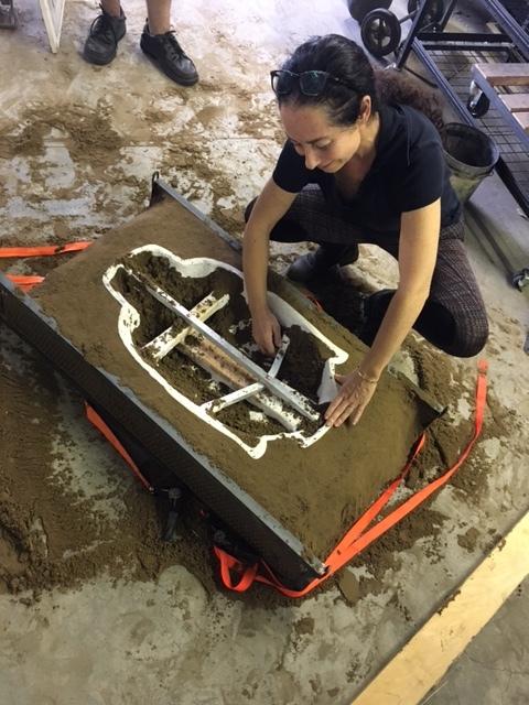 Marlene working on mold preparation