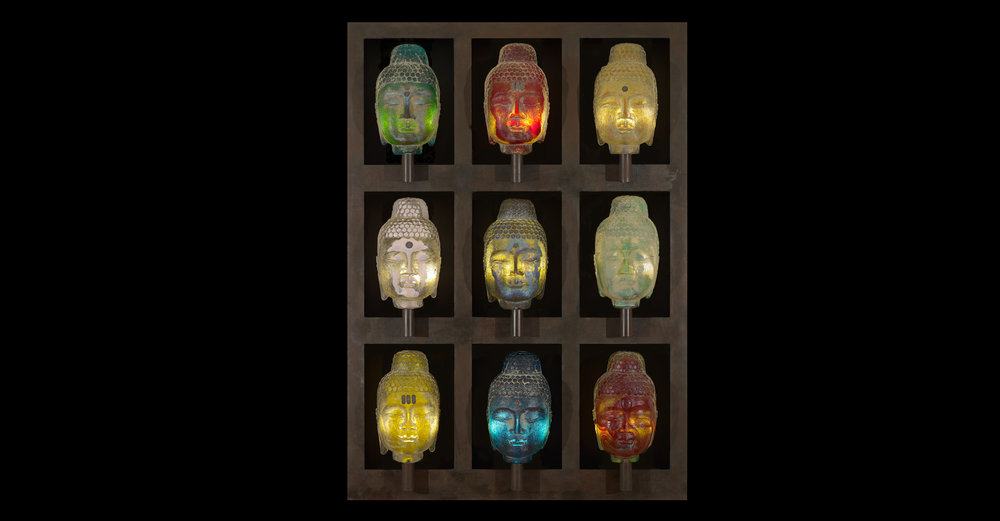 "Marlene Rose,  Buddha Wall , 2011. Glass, steel, and copper, 4'6"" × 3'2"" × 9"". Photo: David A. Monroe."