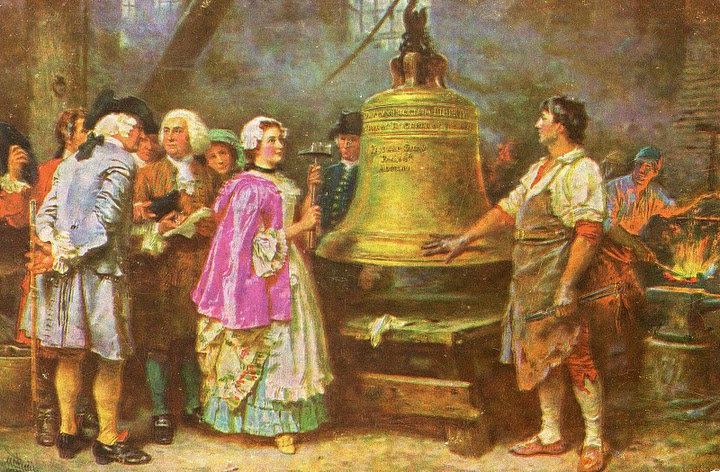 """Reproduction of historical painting """"The Bell's First Note"""" by Jean Leon Gerome Ferris, September 30, 1913. Photo: PD-1923 public domain"""