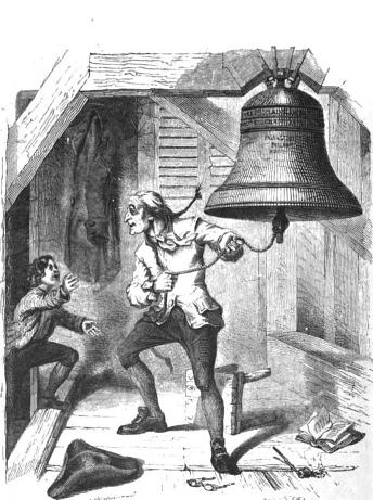 Depiction of the story of the bellringer ringing the Liberty Bell upon being told of American independence.This image first appeared on the front page of  Graham's Magazine June 1854. See David Kimball, The Story of the Liberty Bell p. 57. and link to original of magazine  here .Photo: PD-1923 public domain