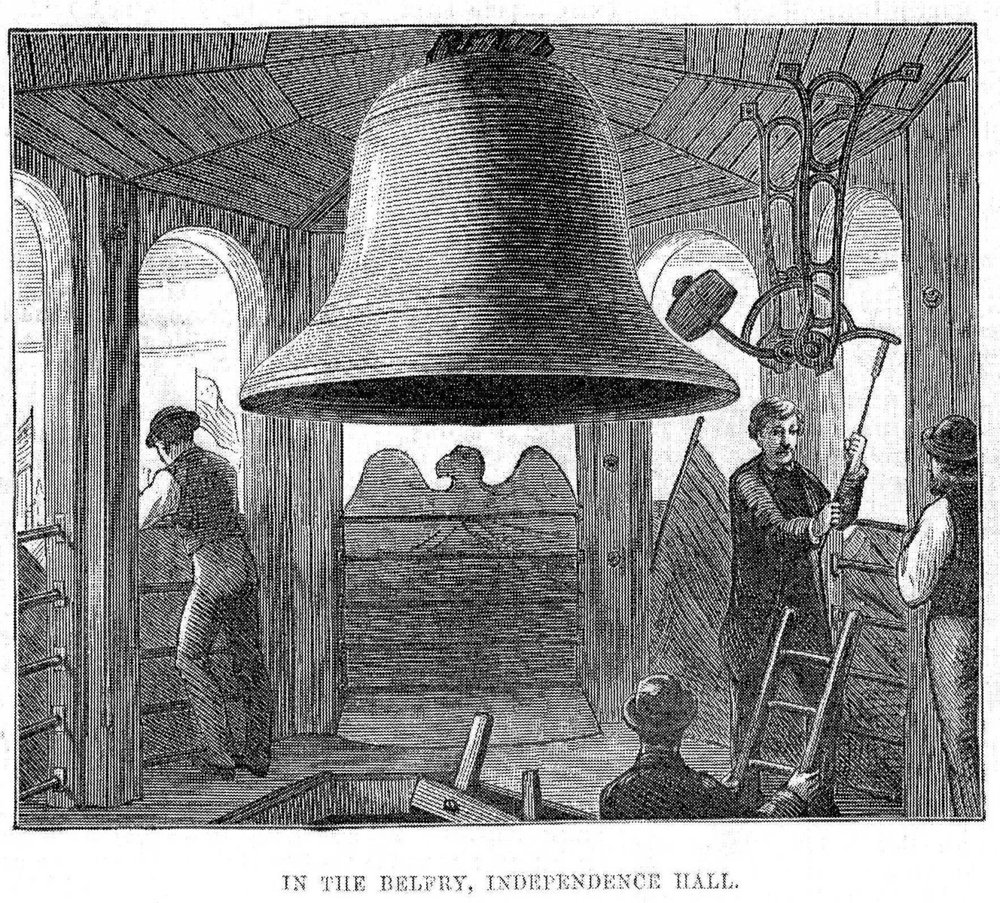 The Centennial Bell which replaced the Liberty Bell after it cracked. June 17, 1876. The Illustrated London News Photo:   PD-1923  public domain