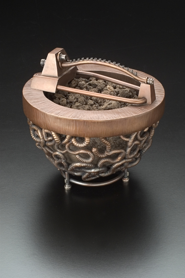 "Becky McDonah, Hunting Nightcrawlers, 1998. Copper, bronze, sterling, dirt, glass, 7"" × 8"" × 8"".  Photo: Keith Meiser."