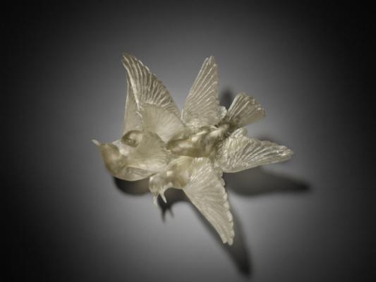 """Katherine Rutecki,  Grey , 2011. Lost wax cast lead crystal, steel mount, 20"""" × 10"""" × 14"""". Photo: Jason Berge."""
