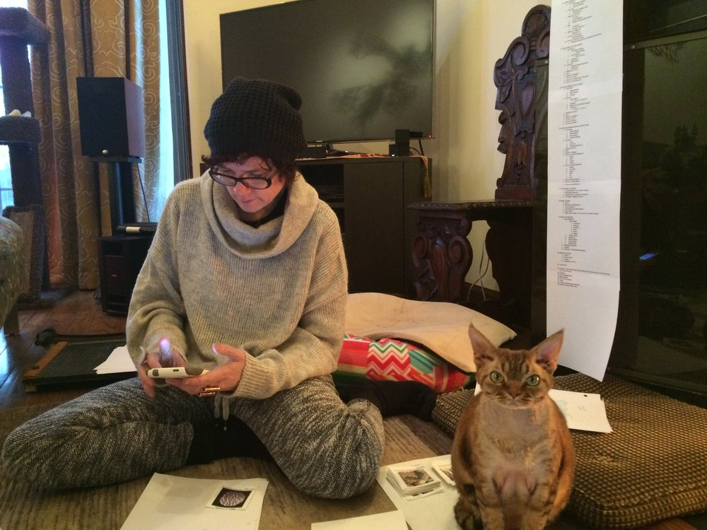 A moment from the writing process: Renée with thumbnail images, outline, and Khufu, casting enthusiast.