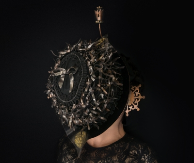 Object of Mourning Veil #4, copper, bronze, silver, velvet, ribbon, beads, 2015