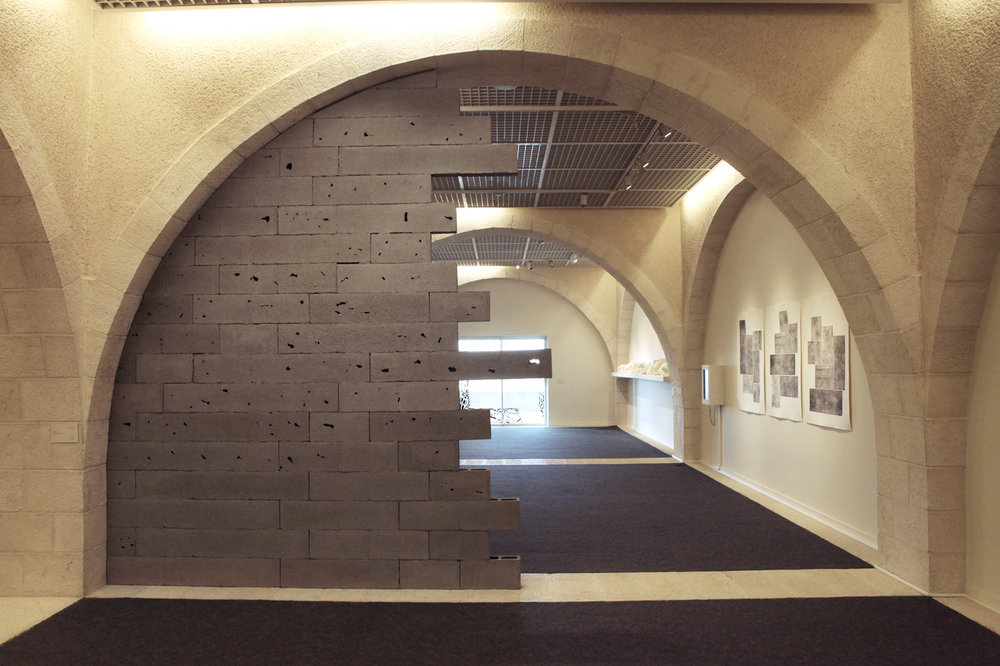 """Brick Wall #3"" on display at Mormon University, Jerusalem. Photo by Doron Kuperman, courtesy of the artist."