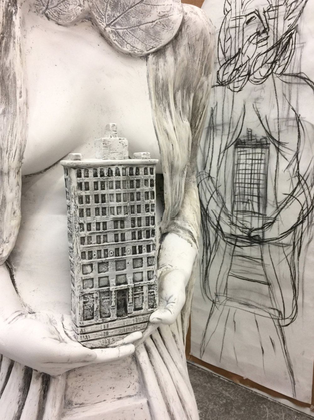 Sculpture detail next to scale sketch. Photo courtesy of the artist.