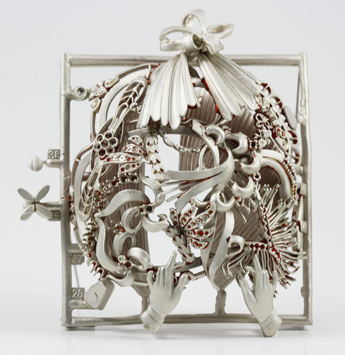 "Mary Hallam Pearse, ""Chromeo,"" silver, aluminum, 23/4 x 21/4 x 1 inches.   Photo courtesy of the artist."