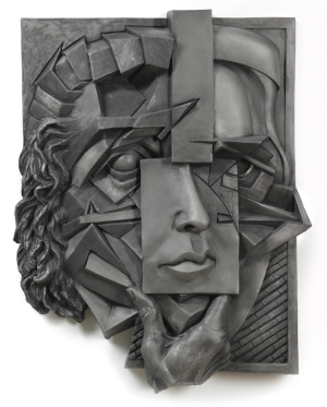 "Suzanne Horwitz,  Façade , 2011. Cast aluminum bas relief, 26"" x 21"" x 3"". Photo: Tom Van Endye."