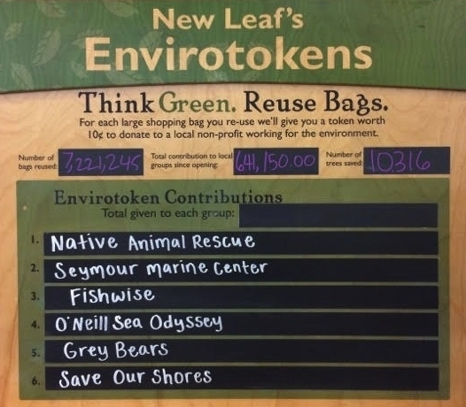Envirotokens - Support O'Neill Sea Odyssey at New Leaf markets in Capitola and Downtown Santa Cruz.