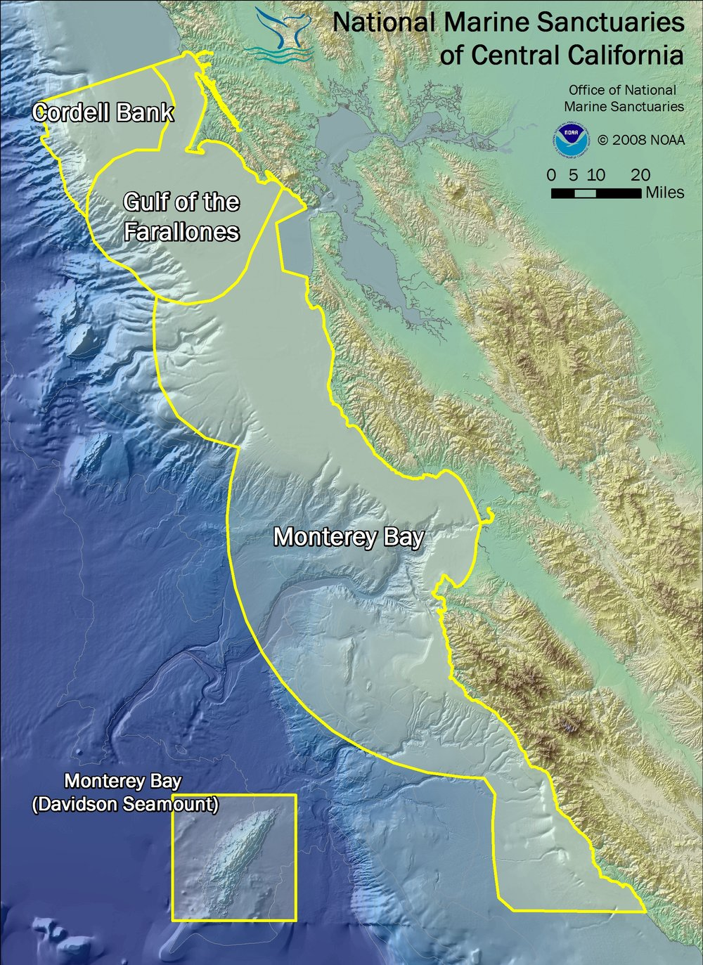 Boundaries of Monterey Bay, Gulf of the Farallones, and Cordell Bank national marine sanctuaries, plus the 2008 Davidson Seamount addition to Monterey Bay National Marine Sanctuary. Image credit:  NOAA
