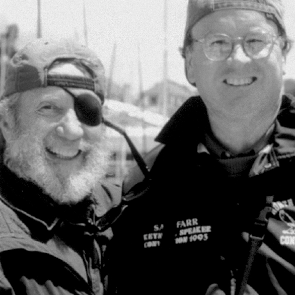 OSO founder Jack O'Neill with former U.S. Representative Sam Farr (D-Carmel), O'Neill Sea Odyssey supporter who was instrumental in establishing the Monterey Bay National Marine Sanctuary.