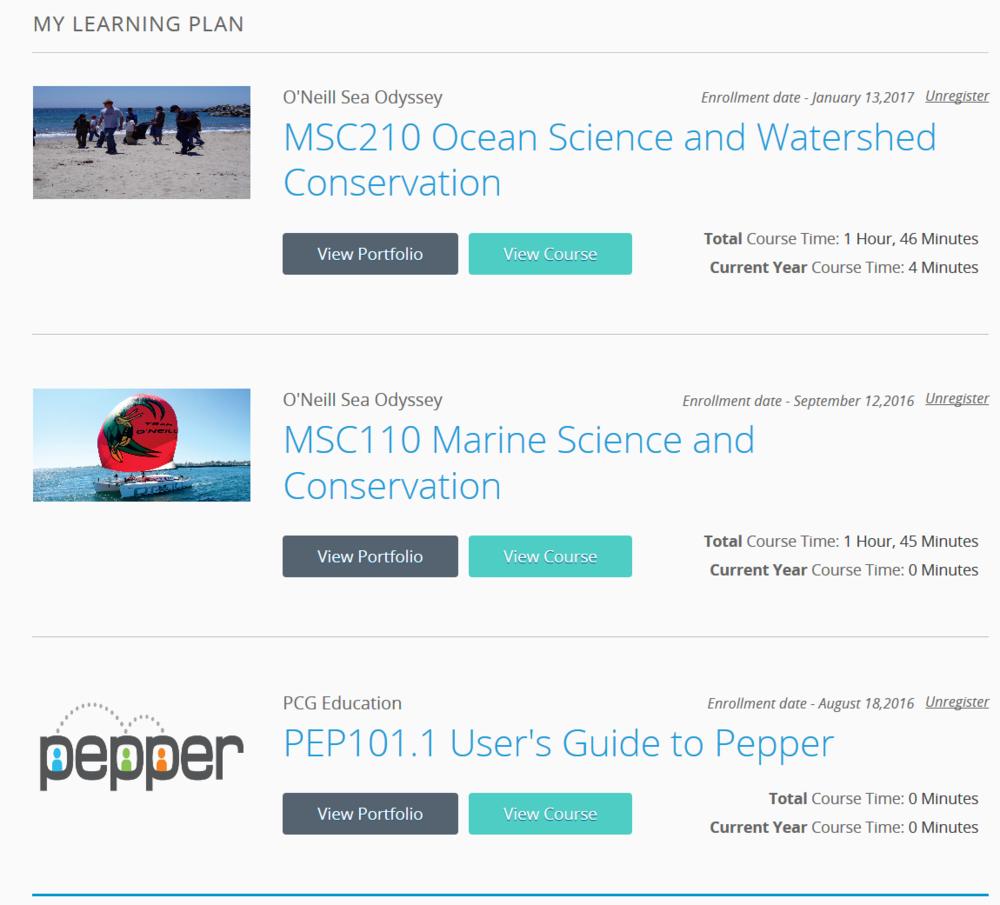 O'Neill Sea Odyssey courses available through Pepper.