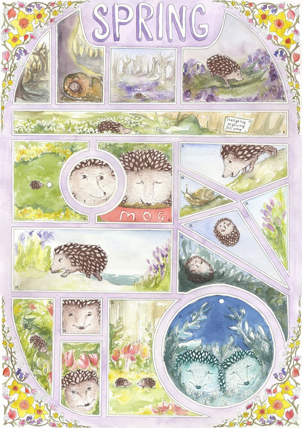 A wordless comic poster about hedgehog conservation.