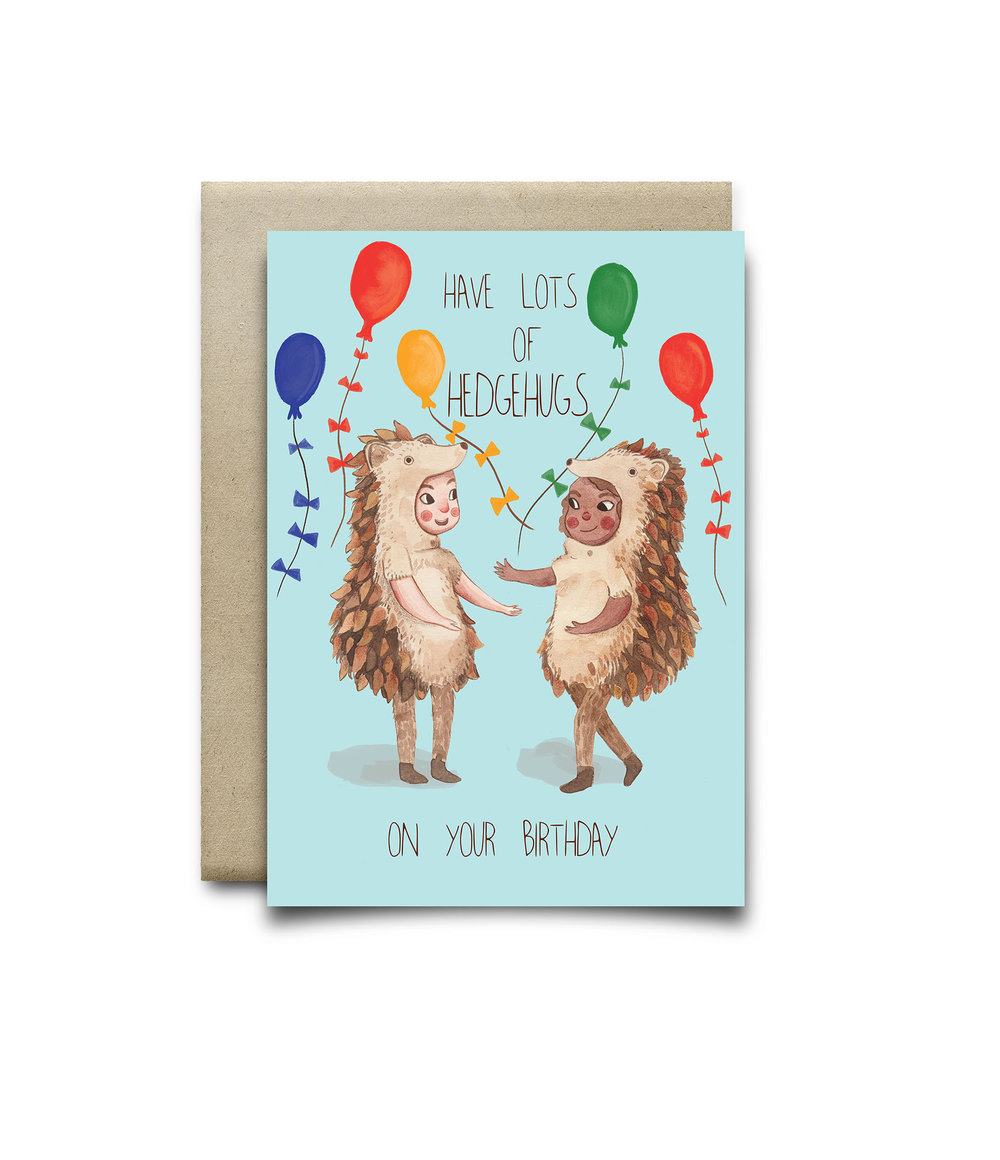 Hedgehugs birthday card