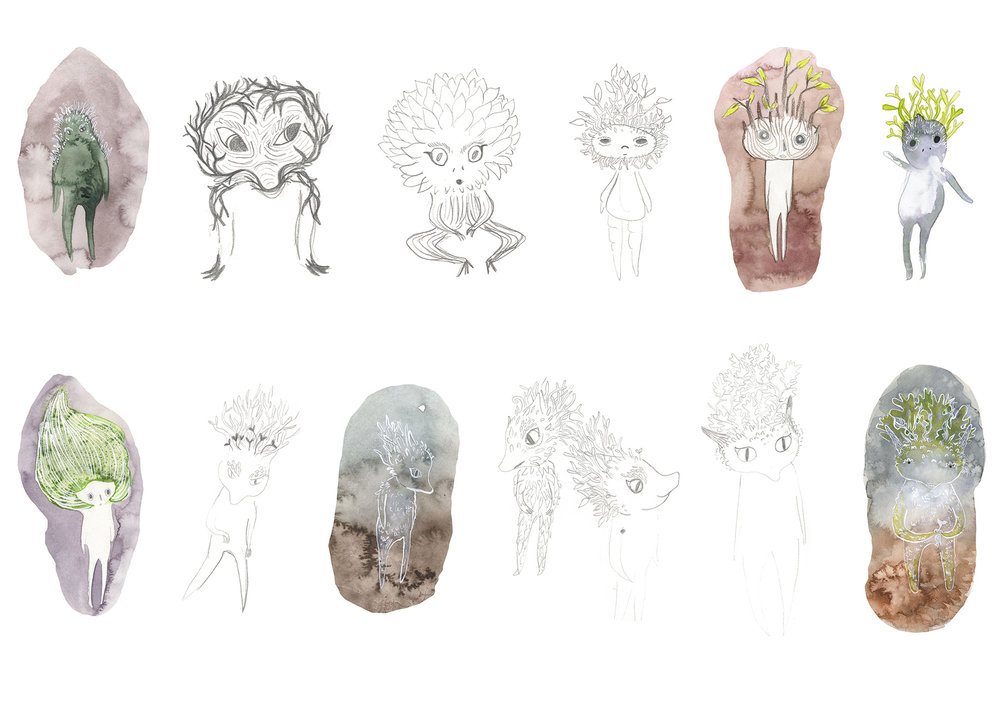 Creature designs for a children's book