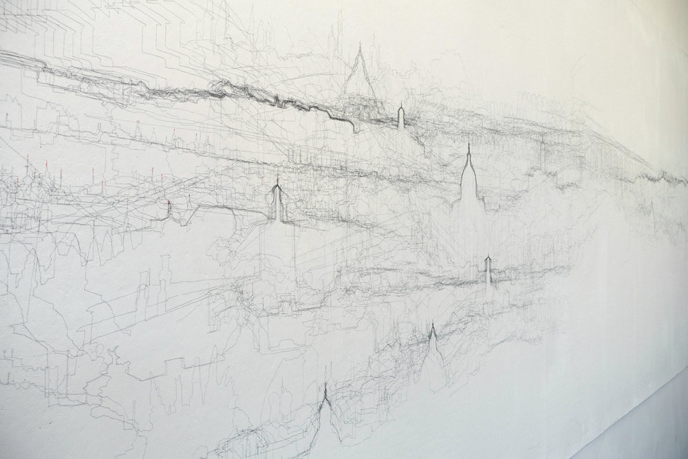 Each drawing in Peregrine Projections is an automatic cartography, constructed from photographs taken at regular intervals during a walk, stalking a particular point on the horizon. The topography is the accumulation of horizon lines from the set of photographs, projected and traced sequentially