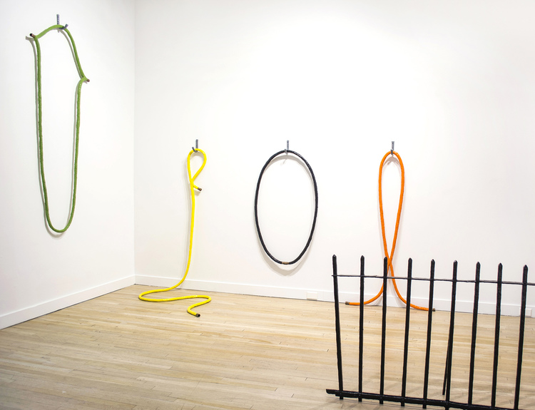No Your Boundaries , 2016, CUE Art Foundation Four faux water hoses alter the function and familiarity of the common garden hose into new surreal and bizarre forms. Each hose captures and freezes the action of connection points where the water hose has intersected itself.
