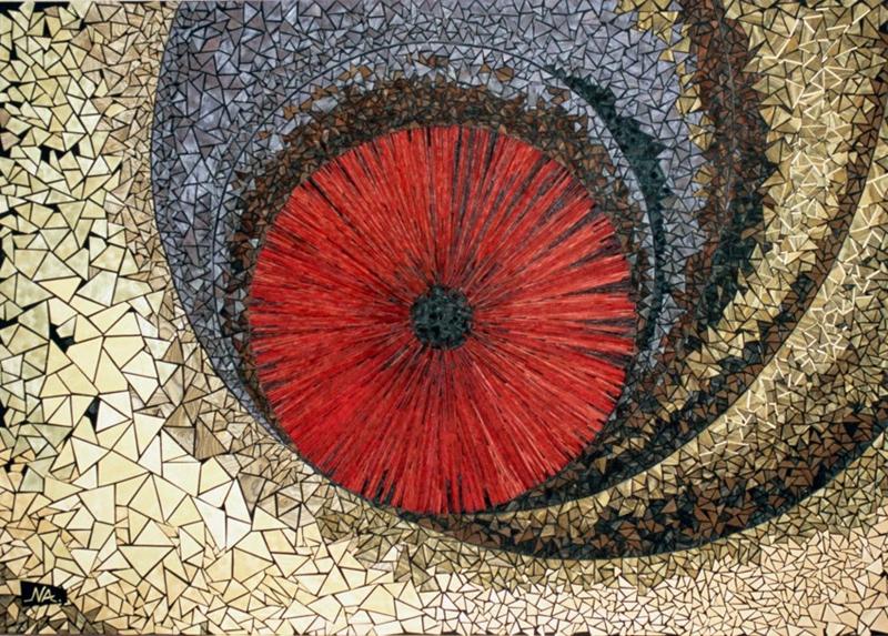 "Energy III Naoko Morisawa   Handcrafted, Oilstained Wood Mosaics, Acrylic, washi paper 21"" x 29"" x 0"""