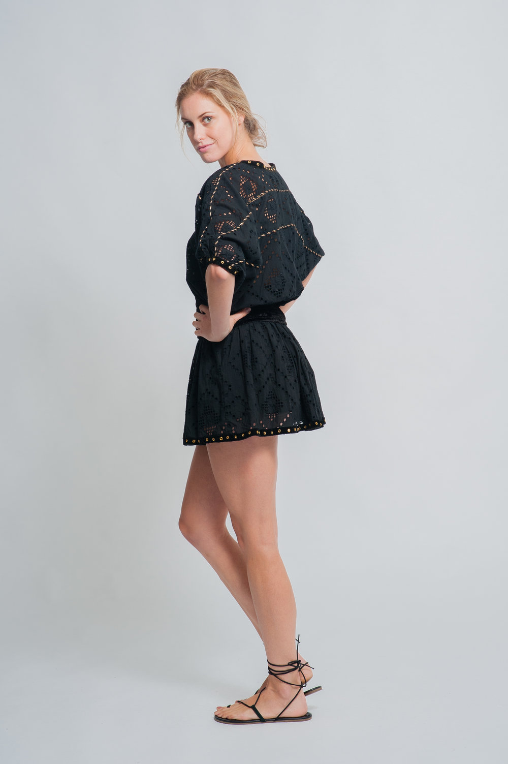 SS19-35 L'ESCALET CUTWORK LACE BALLOON SLEEVE CROP BLOUSE worn with  SS19-17 LE PORTISSOL CUTWORK LACE MINI SKIRT