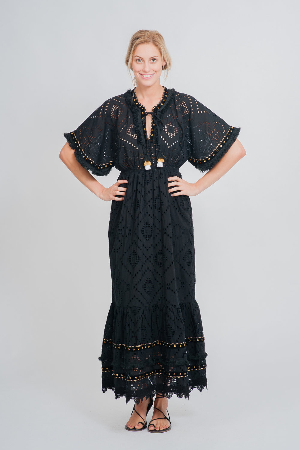 SS19-31 LA MANDALA CUTWORK LACE MAXI KAFTAN DRESS
