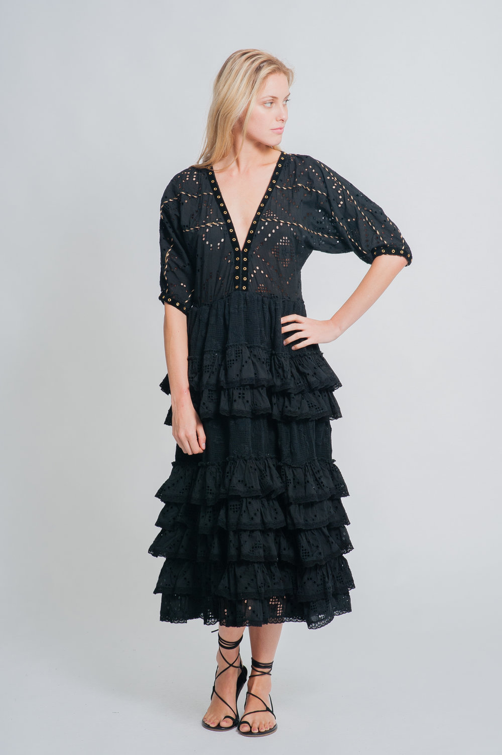 SS19-34 LE CASTEL CUTWORK LACE TIERED MAXI DRESS