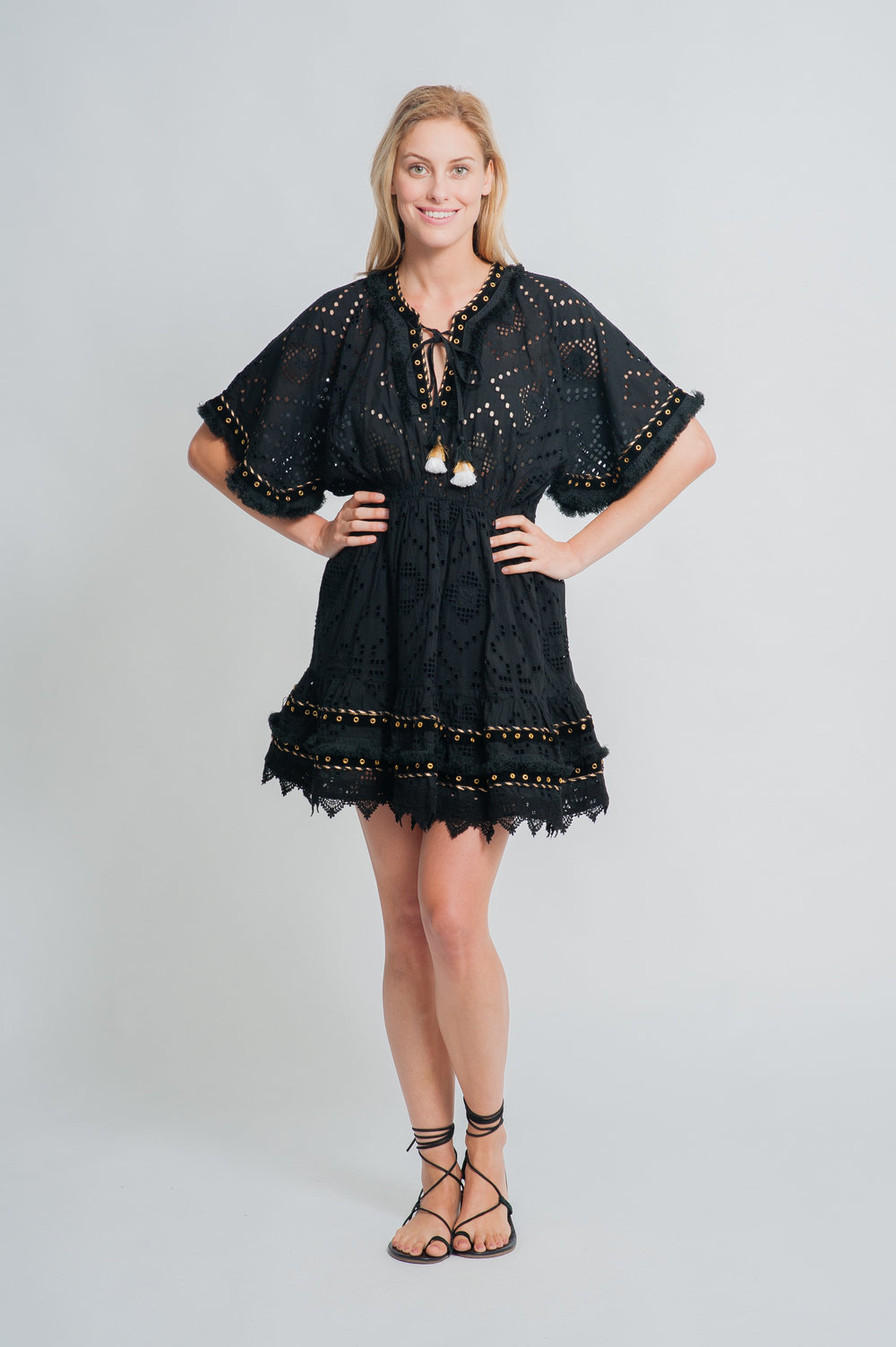 SS19-32 LA MANDALA MINI CUTWORK LACE MINI KAFTAN DRESS