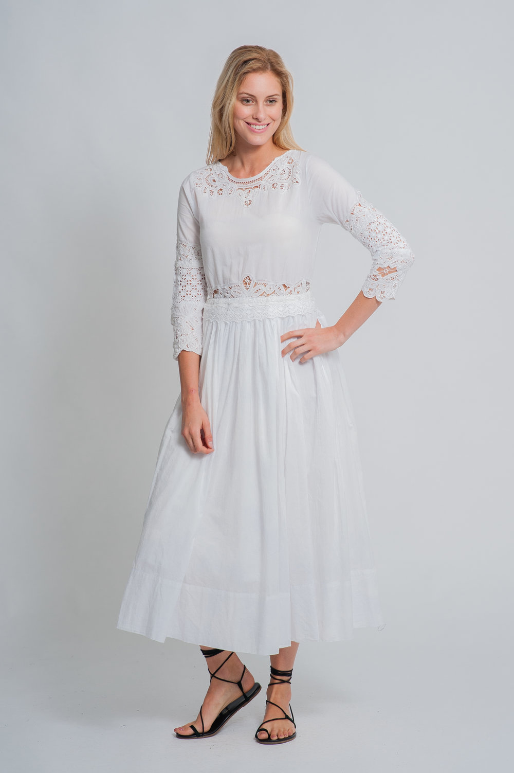 SS19-44 LA VIGNE BATON LACE COTTON VOILE MAXI DRESS